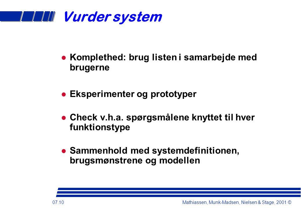 07.10 Mathiassen, Munk-Madsen, Nielsen & Stage, 2001 © Vurder system Komplethed: brug listen i samarbejde med brugerne Eksperimenter og prototyper Check v.h.a.