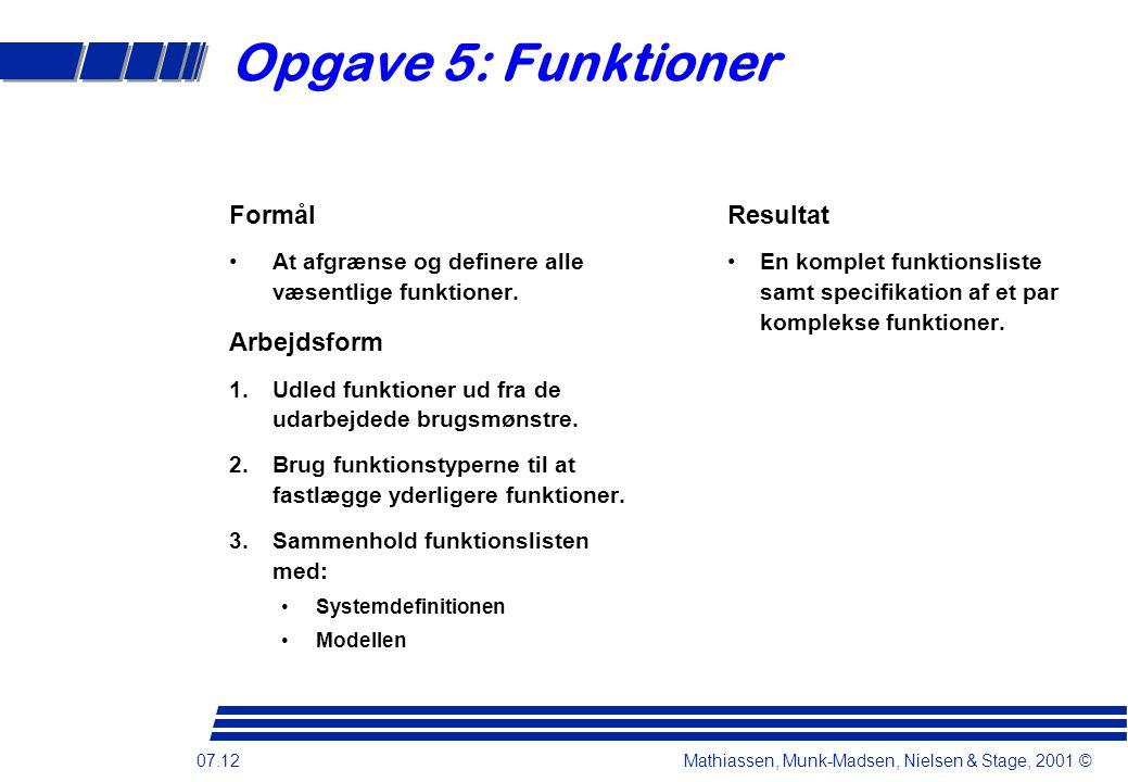 07.12 Mathiassen, Munk-Madsen, Nielsen & Stage, 2001 © Opgave 5: Funktioner Formål At afgrænse og definere alle væsentlige funktioner.