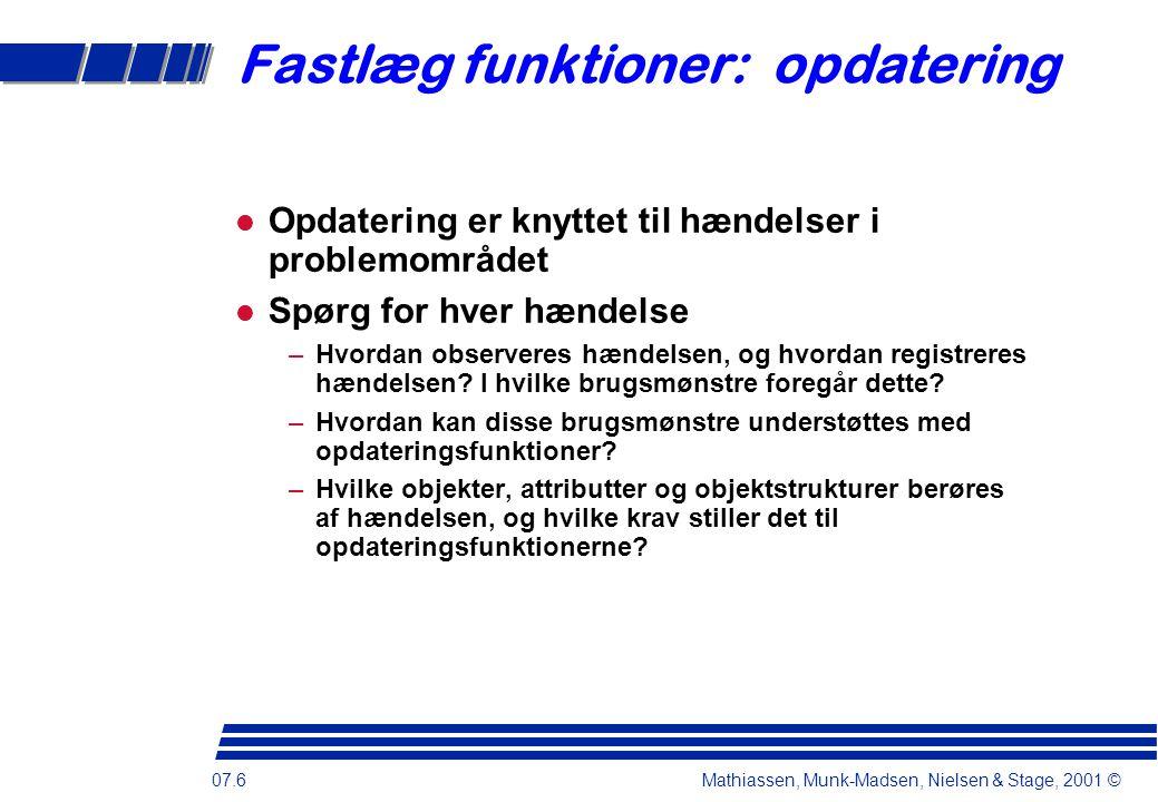 07.6 Mathiassen, Munk-Madsen, Nielsen & Stage, 2001 © Fastlæg funktioner: opdatering Opdatering er knyttet til hændelser i problemområdet Spørg for hver hændelse –Hvordan observeres hændelsen, og hvordan registreres hændelsen.