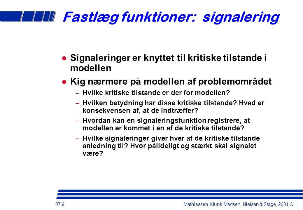 07.9 Mathiassen, Munk-Madsen, Nielsen & Stage, 2001 © Fastlæg funktioner: signalering Signaleringer er knyttet til kritiske tilstande i modellen Kig nærmere på modellen af problemområdet –Hvilke kritiske tilstande er der for modellen.