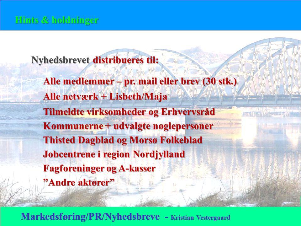 Hints & holdninger Markedsføring/PR/Nyhedsbreve - Kristian Vestergaard Nyhedsbrevet distribueres til: Alle medlemmer – pr.