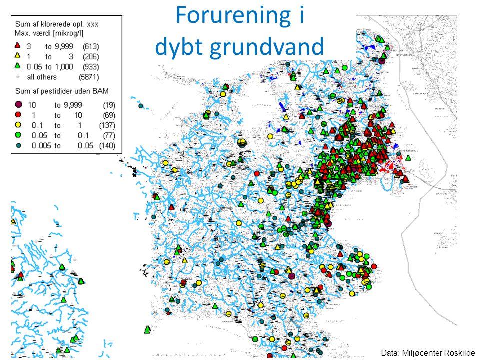 Forurening i dybt grundvand Data: Miljøcenter Roskilde