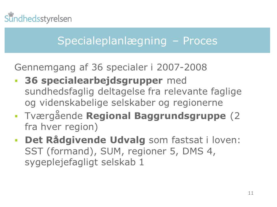 11 Specialeplanlægning – Proces Gennemgang af 36 specialer i 2007-2008  36 specialearbejdsgrupper med sundhedsfaglig deltagelse fra relevante faglige og videnskabelige selskaber og regionerne  Tværgående Regional Baggrundsgruppe (2 fra hver region)  Det Rådgivende Udvalg som fastsat i loven: SST (formand), SUM, regioner 5, DMS 4, sygeplejefagligt selskab 1