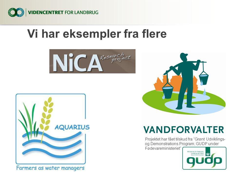 Vi har eksempler fra flere Projektet har fået tilskud fra Grønt Udviklings- og Demonstrations Program, GUDP under Fødevareministeriet