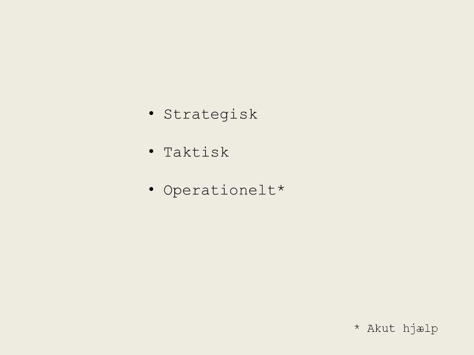 Strategisk Taktisk Operationelt* * Akut hjælp