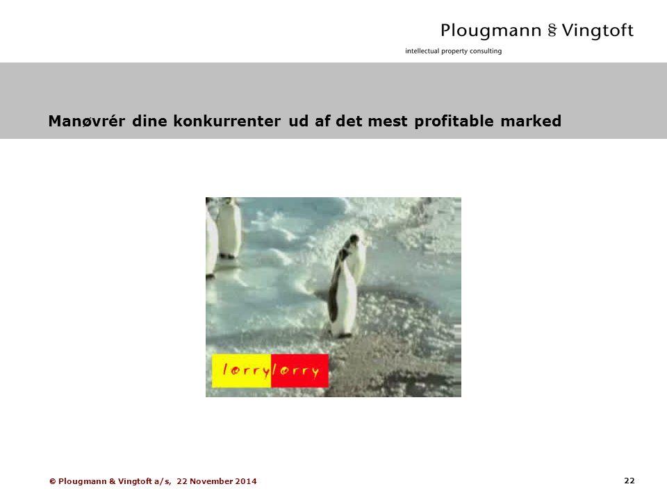 22  Plougmann & Vingtoft a/s, 22 November 2014 Manøvrér dine konkurrenter ud af det mest profitable marked