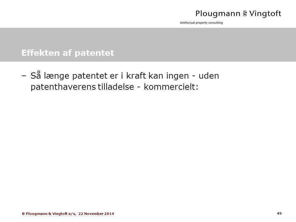 45  Plougmann & Vingtoft a/s, 22 November 2014 Effekten af patentet –Så længe patentet er i kraft kan ingen - uden patenthaverens tilladelse - kommercielt: