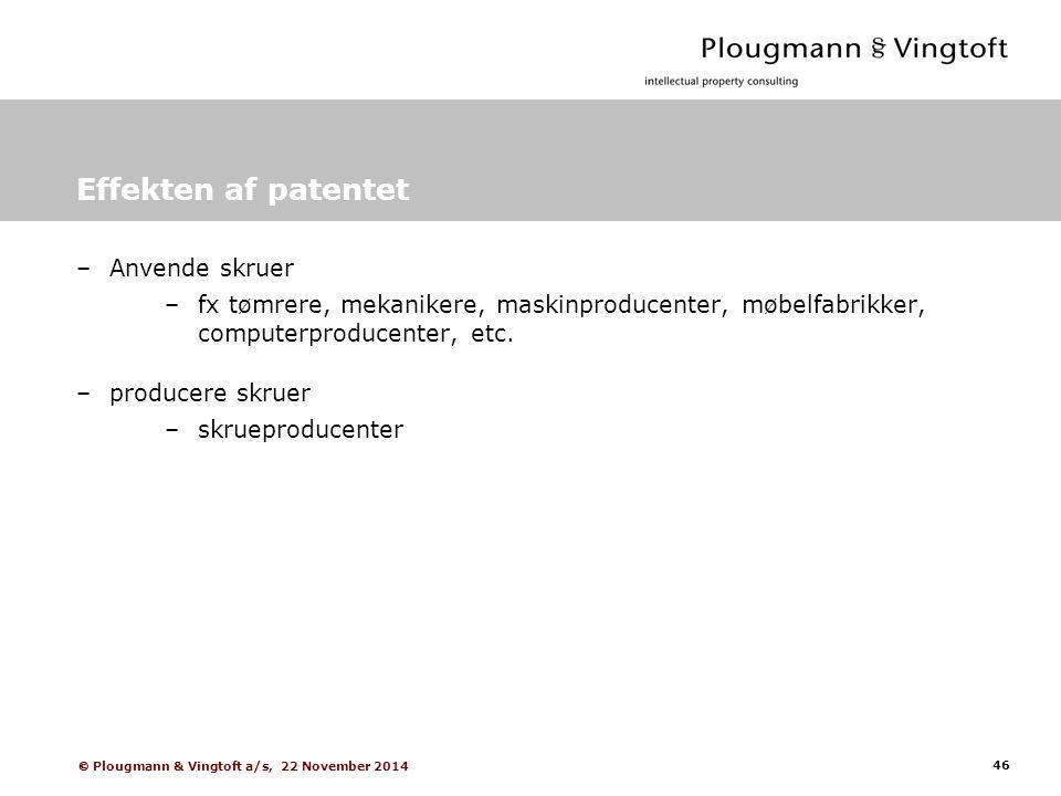 46  Plougmann & Vingtoft a/s, 22 November 2014 Effekten af patentet –Anvende skruer –fx tømrere, mekanikere, maskinproducenter, møbelfabrikker, computerproducenter, etc.