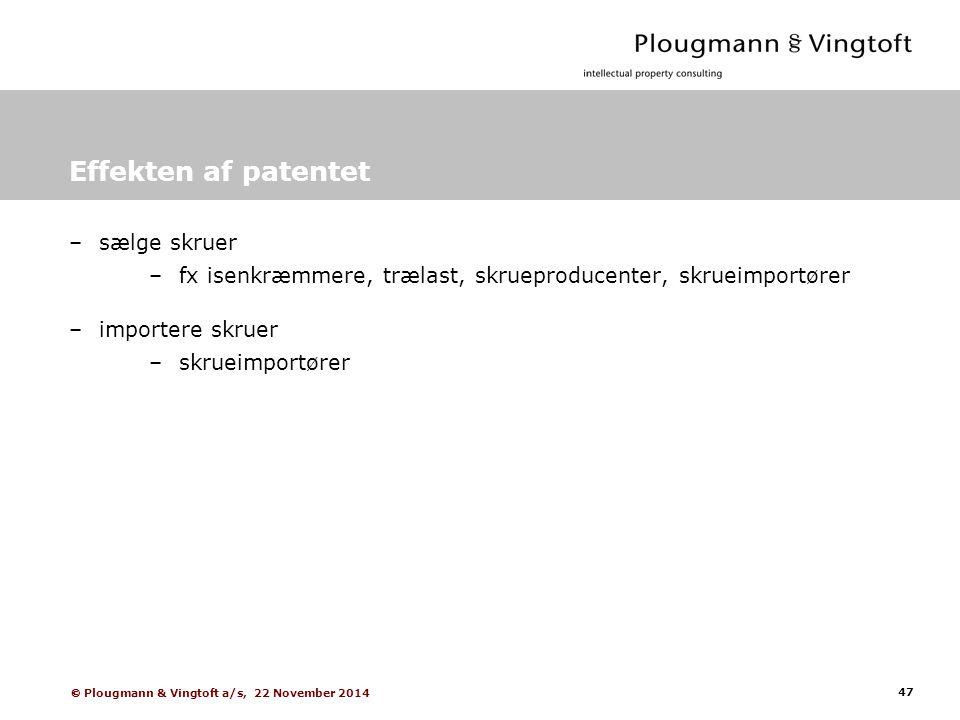 47  Plougmann & Vingtoft a/s, 22 November 2014 Effekten af patentet –sælge skruer –fx isenkræmmere, trælast, skrueproducenter, skrueimportører –importere skruer –skrueimportører