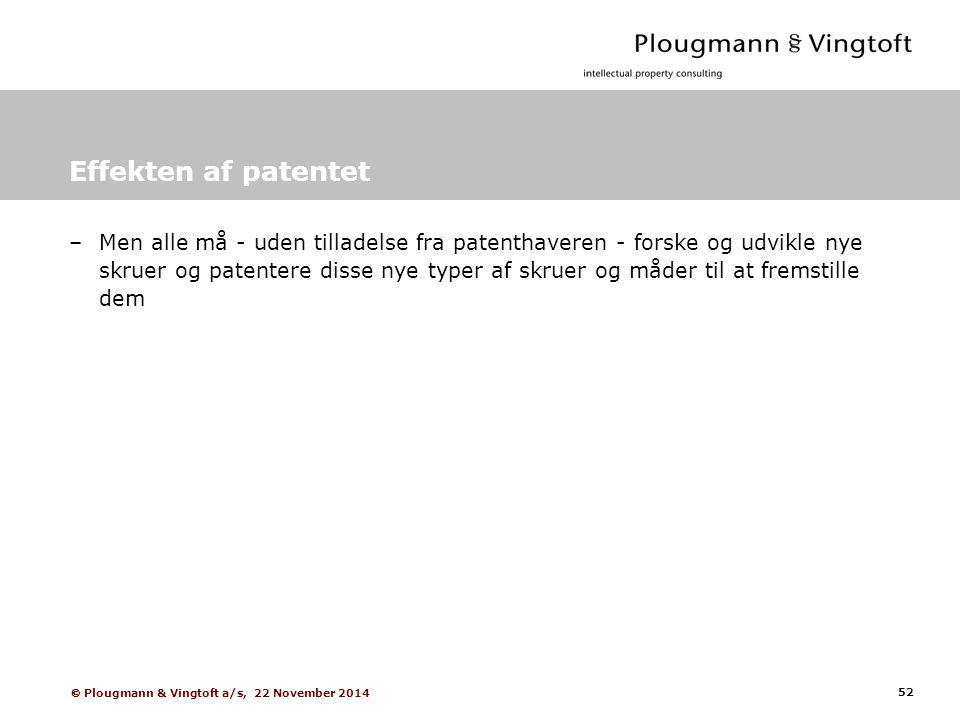 52  Plougmann & Vingtoft a/s, 22 November 2014 Effekten af patentet –Men alle må - uden tilladelse fra patenthaveren - forske og udvikle nye skruer og patentere disse nye typer af skruer og måder til at fremstille dem