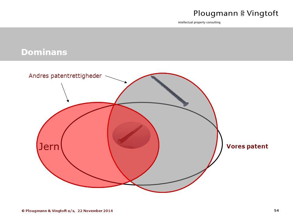 54  Plougmann & Vingtoft a/s, 22 November 2014 Dominans Vores patent Andres patentrettigheder Jern
