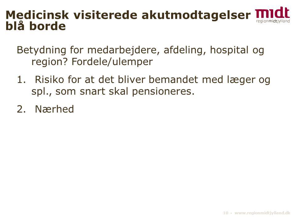 10 ▪ www.regionmidtjylland.dk Medicinsk visiterede akutmodtagelser blå borde Betydning for medarbejdere, afdeling, hospital og region.