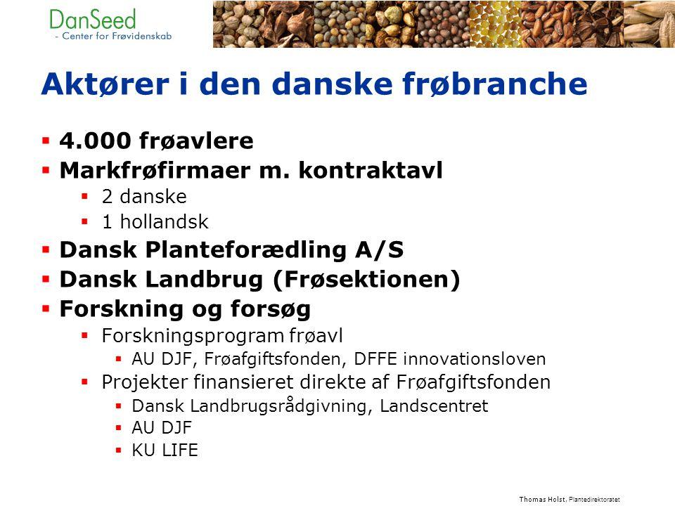 Aktører i den danske frøbranche  4.000 frøavlere  Markfrøfirmaer m.