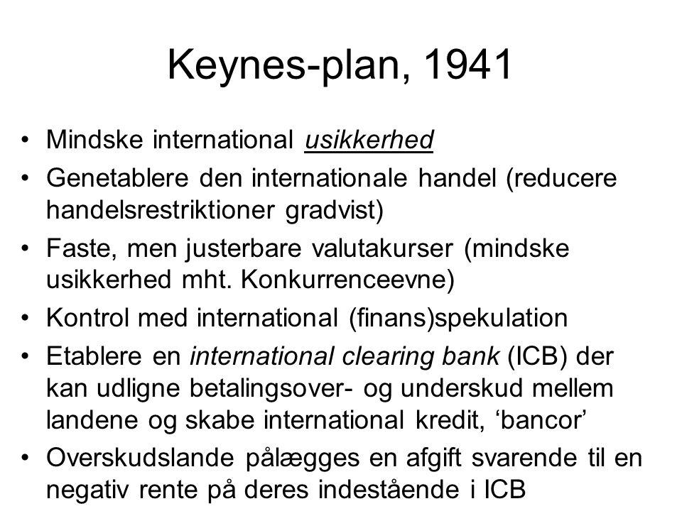 Keynes-plan, 1941 Mindske international usikkerhed Genetablere den internationale handel (reducere handelsrestriktioner gradvist) Faste, men justerbare valutakurser (mindske usikkerhed mht.