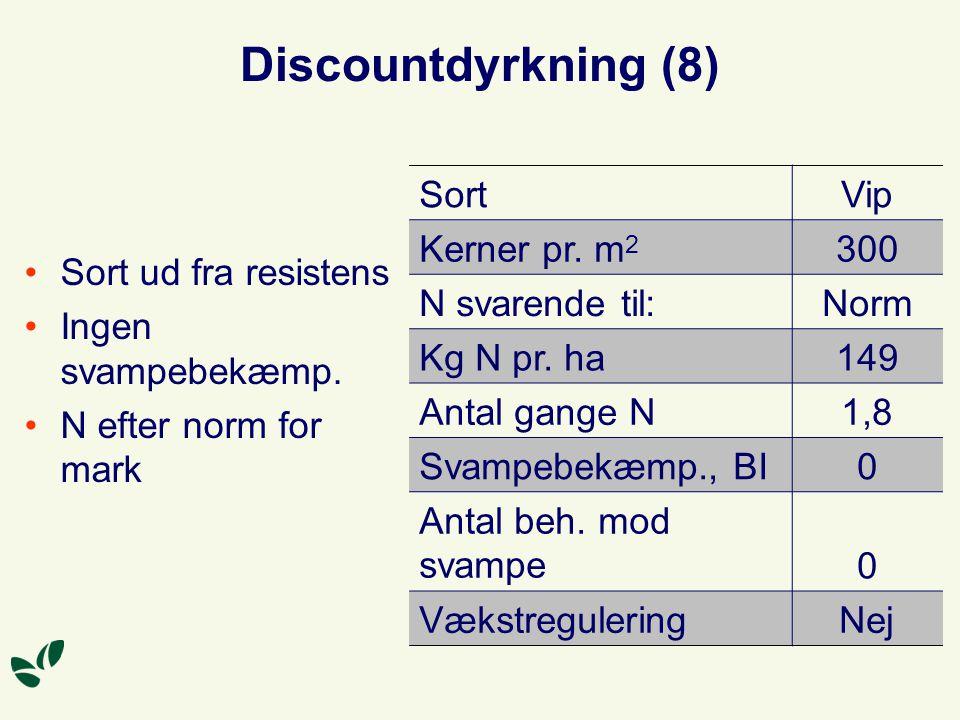 Discountdyrkning (8) Sort ud fra resistens Ingen svampebekæmp.