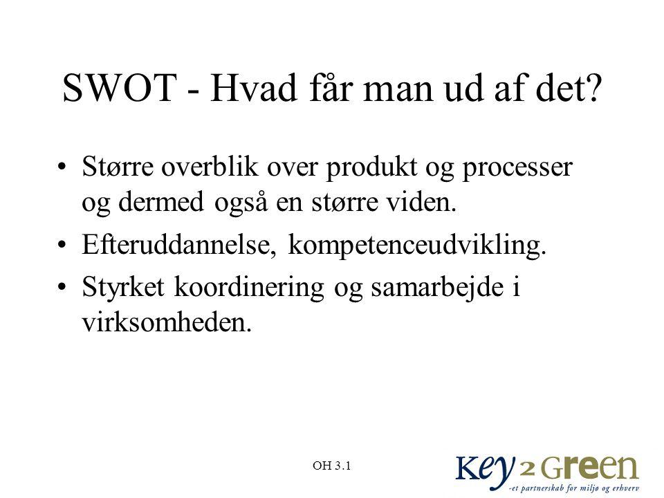 OH 3.1 SWOT - Hvad får man ud af det.