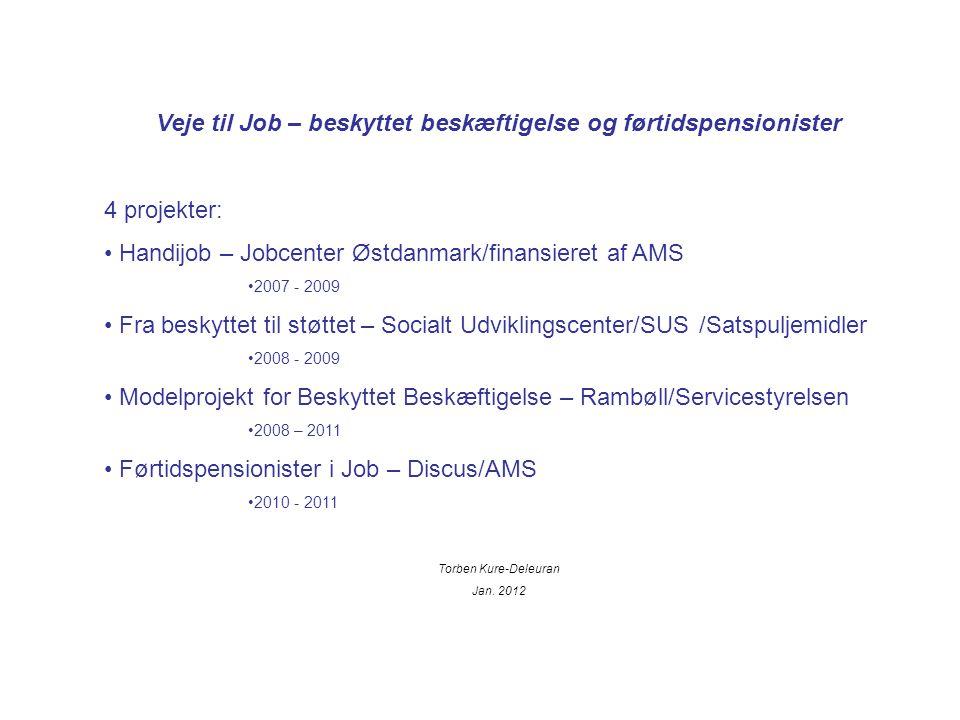 Veje til Job – beskyttet beskæftigelse og førtidspensionister 4 projekter: Handijob – Jobcenter Østdanmark/finansieret af AMS 2007 - 2009 Fra beskyttet til støttet – Socialt Udviklingscenter/SUS /Satspuljemidler 2008 - 2009 Modelprojekt for Beskyttet Beskæftigelse – Rambøll/Servicestyrelsen 2008 – 2011 Førtidspensionister i Job – Discus/AMS 2010 - 2011 Torben Kure-Deleuran Jan.