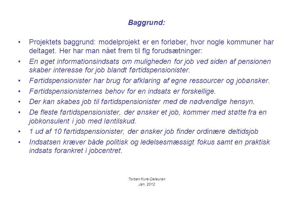 Baggrund: Projektets baggrund: modelprojekt er en forløber, hvor nogle kommuner har deltaget.