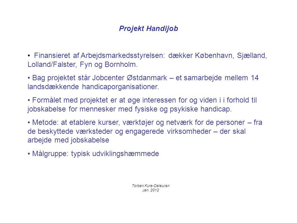Projekt Handijob Finansieret af Arbejdsmarkedsstyrelsen: dækker København, Sjælland, Lolland/Falster, Fyn og Bornholm.