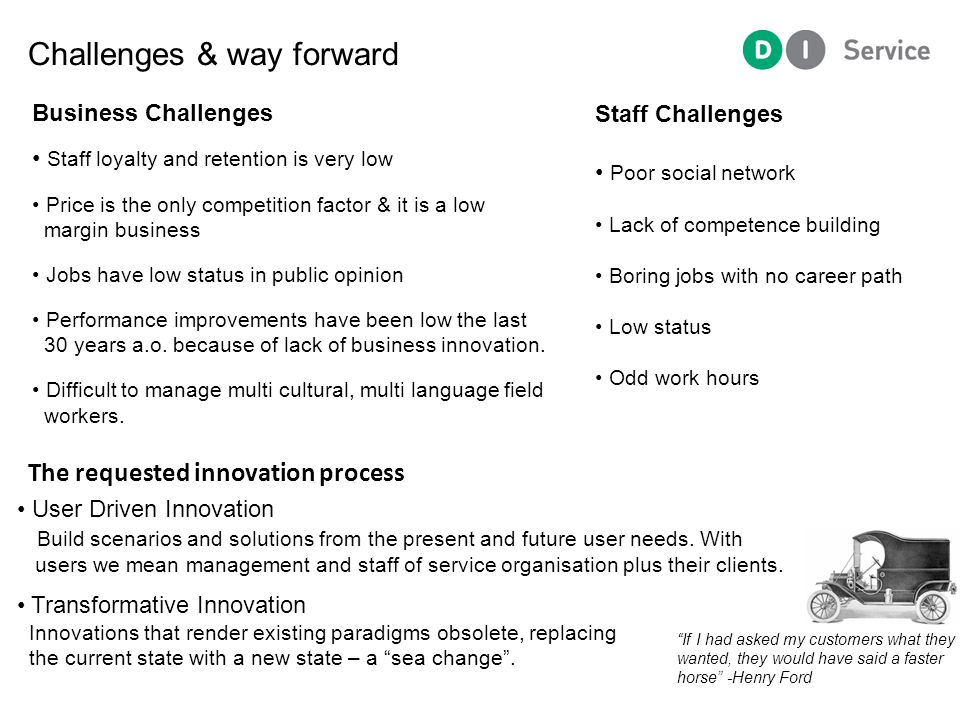 The requested innovation process User Driven Innovation Build scenarios and solutions from the present and future user needs.