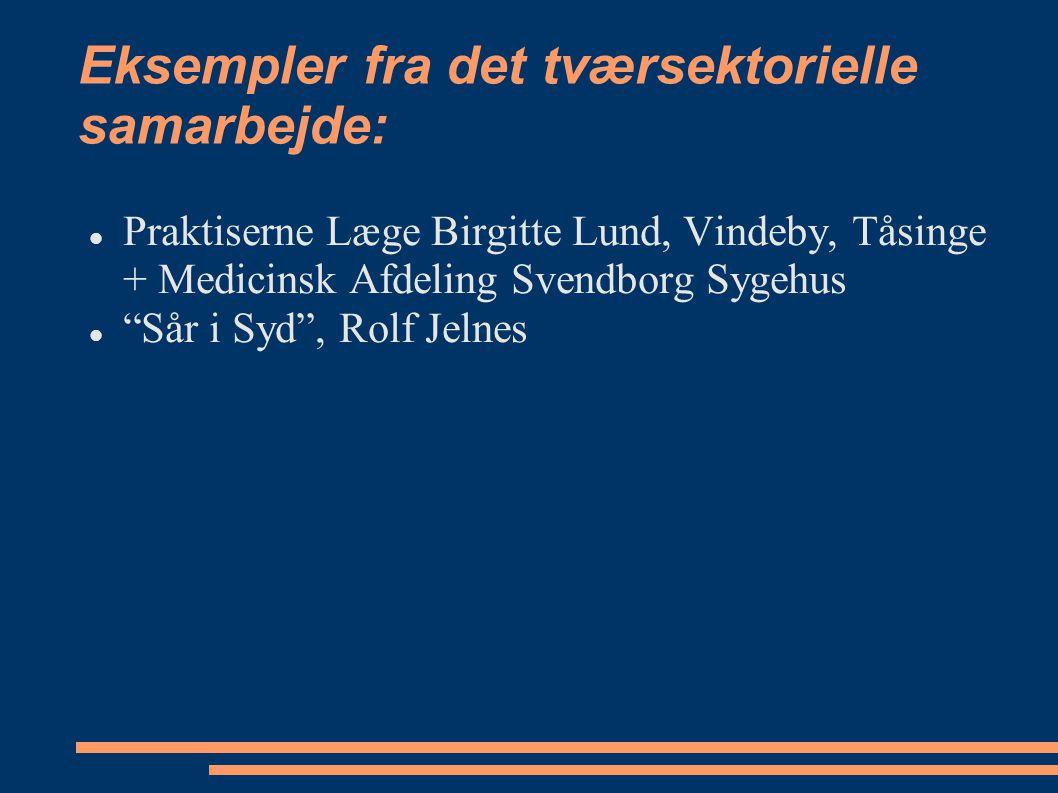 Eksempler fra det tværsektorielle samarbejde: Praktiserne Læge Birgitte Lund, Vindeby, Tåsinge + Medicinsk Afdeling Svendborg Sygehus Sår i Syd , Rolf Jelnes