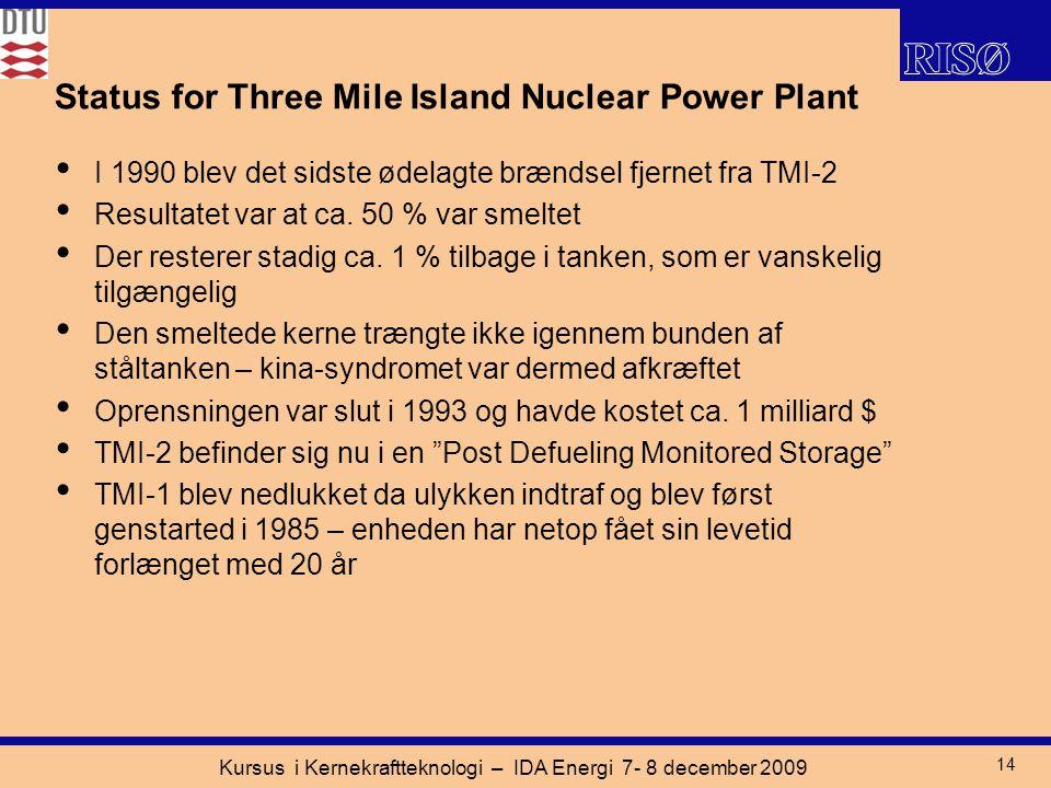 Kursus i Kernekraftteknologi – IDA Energi 7- 8 december 2009 14 I 1990 blev det sidste ødelagte brændsel fjernet fra TMI-2 Resultatet var at ca.