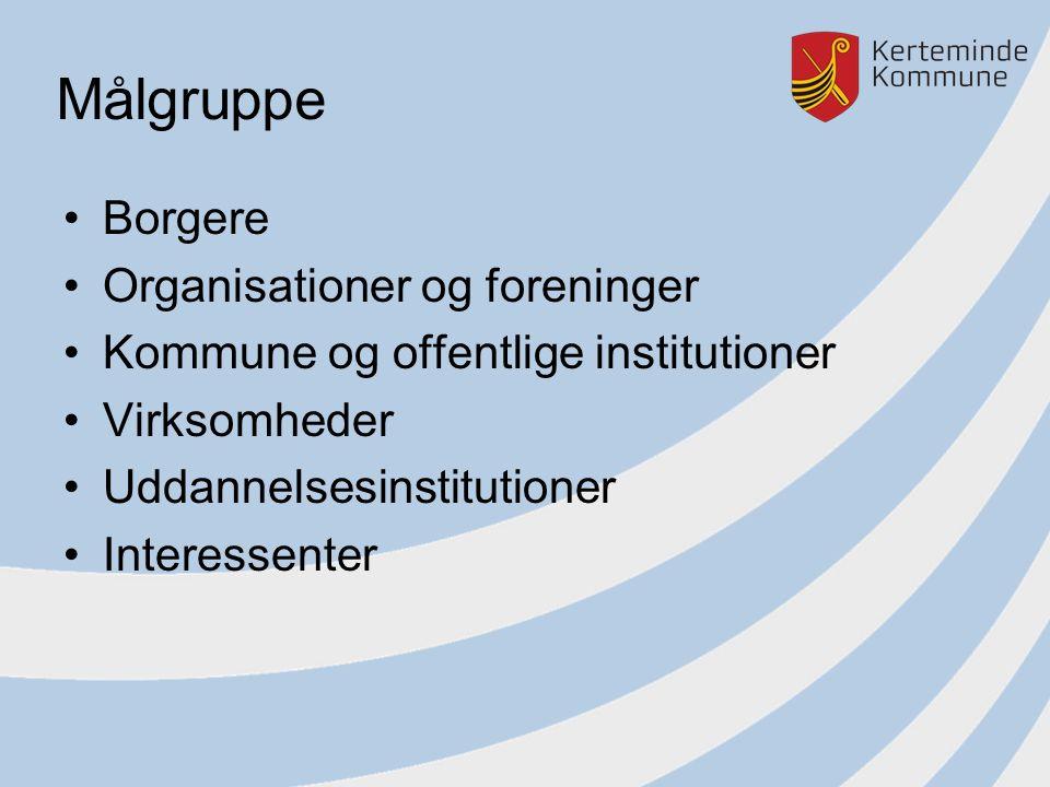 Målgruppe Borgere Organisationer og foreninger Kommune og offentlige institutioner Virksomheder Uddannelsesinstitutioner Interessenter