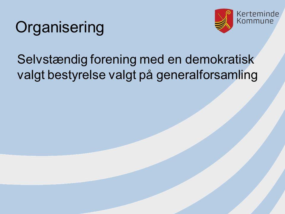 Organisering Selvstændig forening med en demokratisk valgt bestyrelse valgt på generalforsamling