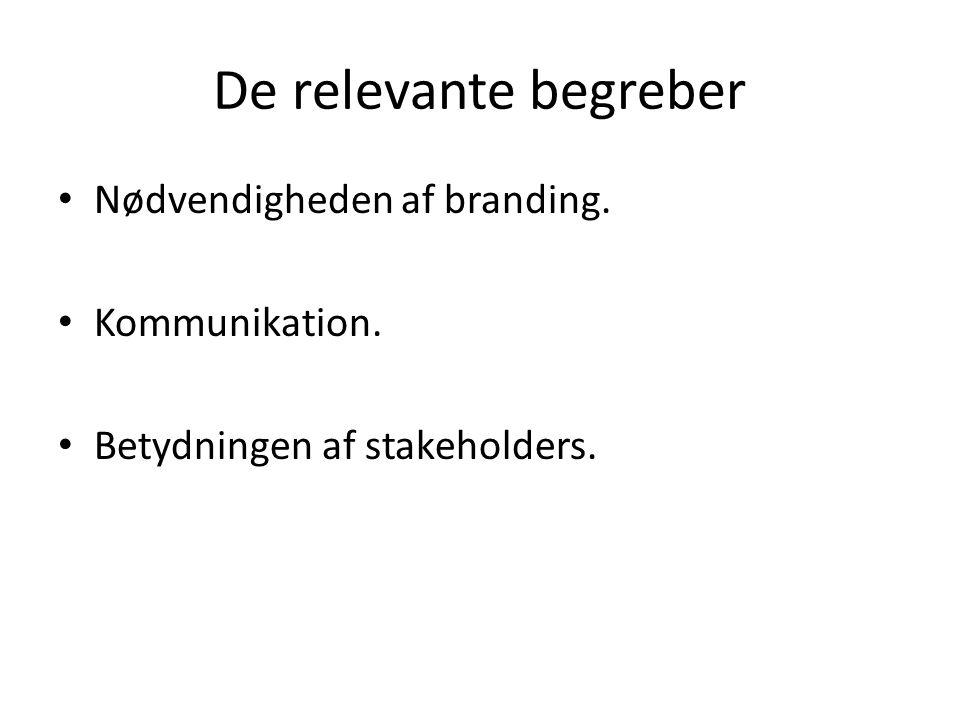 De relevante begreber Nødvendigheden af branding. Kommunikation. Betydningen af stakeholders.