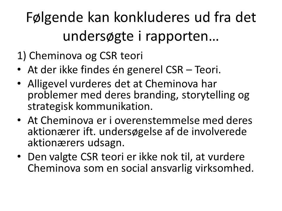 Følgende kan konkluderes ud fra det undersøgte i rapporten… 1) Cheminova og CSR teori At der ikke findes én generel CSR – Teori.
