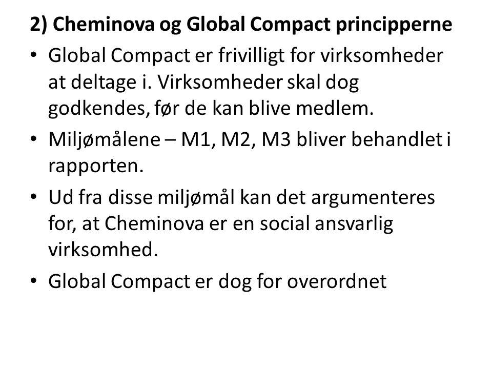 2) Cheminova og Global Compact principperne Global Compact er frivilligt for virksomheder at deltage i.