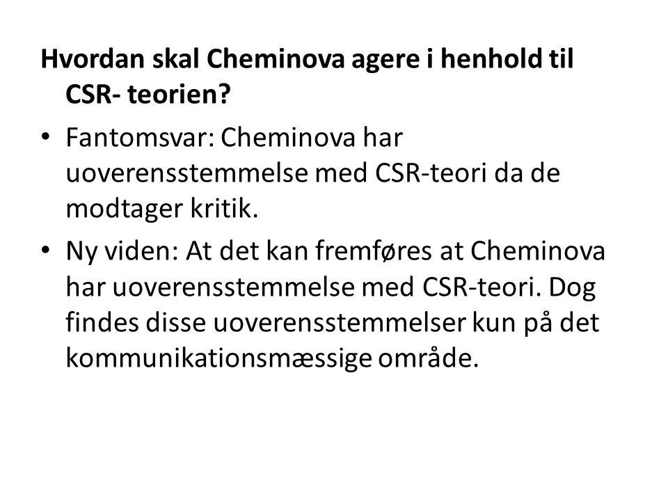 Hvordan skal Cheminova agere i henhold til CSR- teorien.