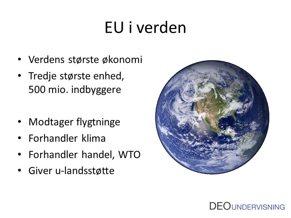 EU i verden Verdens største økonomi Tredje største enhed, 500 mio.