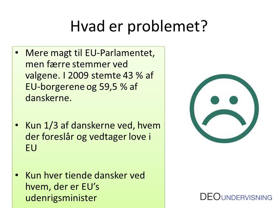 Hvad er problemet. Mere magt til EU-Parlamentet, men færre stemmer ved valgene.