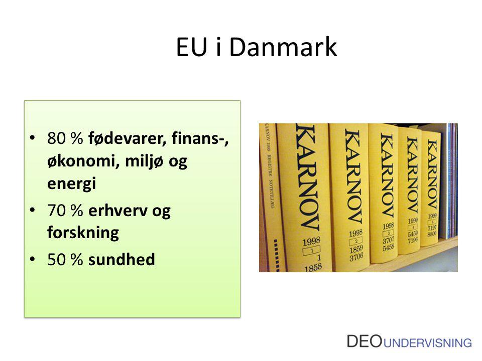 EU i Danmark 80 % fødevarer, finans-, økonomi, miljø og energi 70 % erhverv og forskning 50 % sundhed 80 % fødevarer, finans-, økonomi, miljø og energi 70 % erhverv og forskning 50 % sundhed