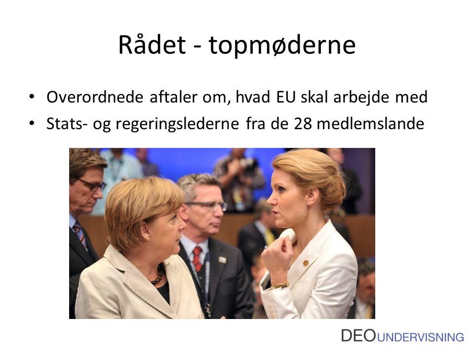Rådet - topmøderne Overordnede aftaler om, hvad EU skal arbejde med Stats- og regeringslederne fra de 28 medlemslande
