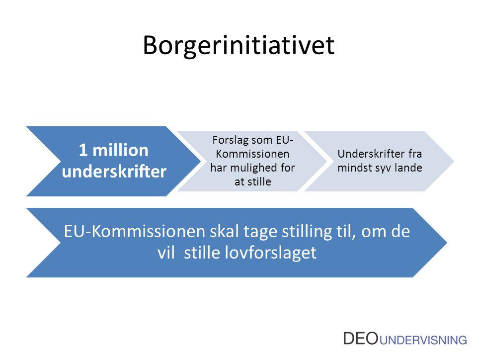 Borgerinitiativet 1 million underskrifter Forslag som EU- Kommissionen har mulighed for at stille Underskrifter fra mindst syv lande EU-Kommissionen skal tage stilling til, om de vil stille lovforslaget