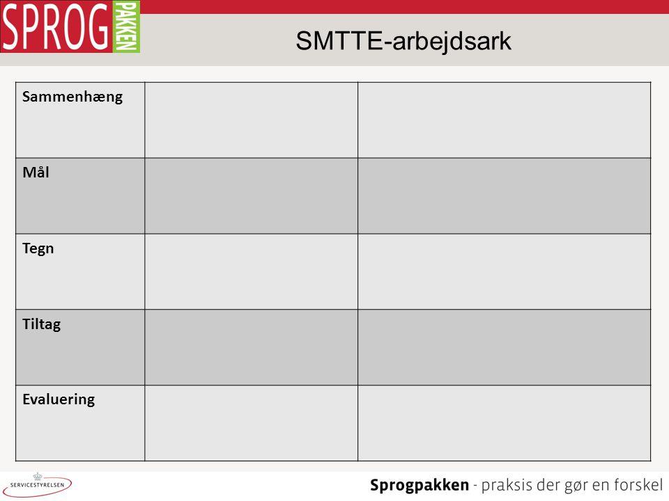 Sammenhæng Mål Tegn Tiltag Evaluering SMTTE-arbejdsark