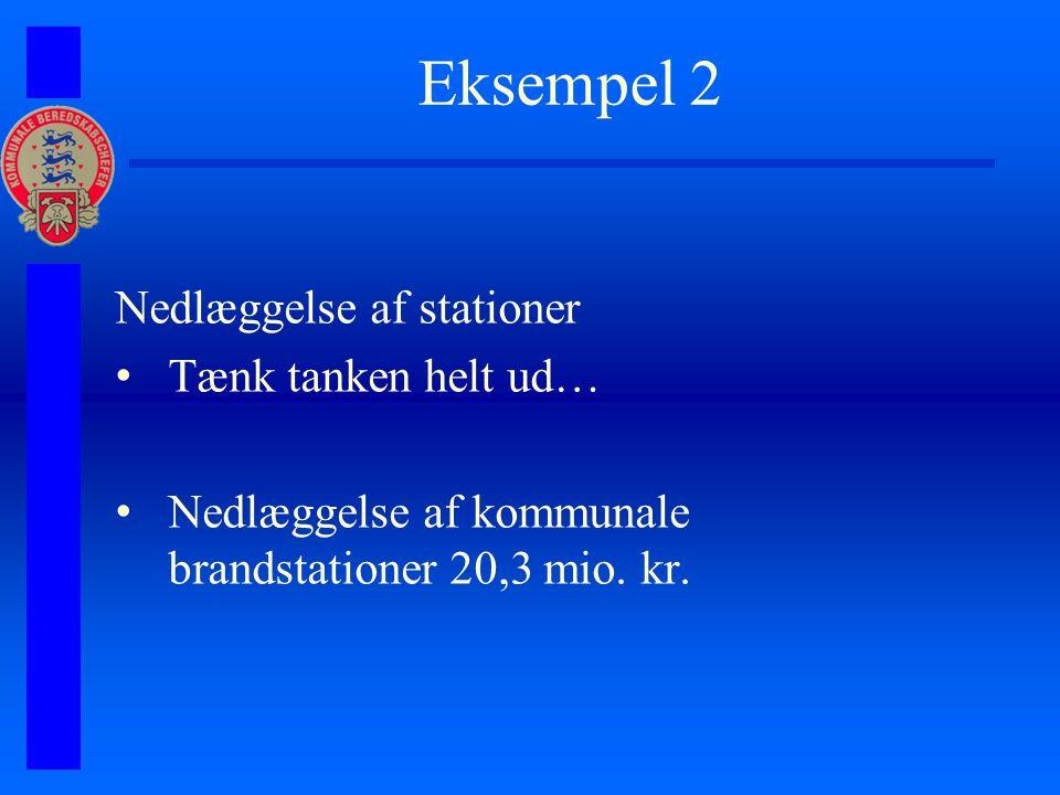 Eksempel 2 Nedlæggelse af stationer Tænk tanken helt ud… Nedlæggelse af kommunale brandstationer 20,3 mio.