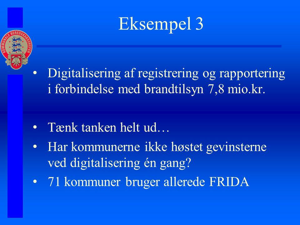 Eksempel 3 Digitalisering af registrering og rapportering i forbindelse med brandtilsyn 7,8 mio.kr.