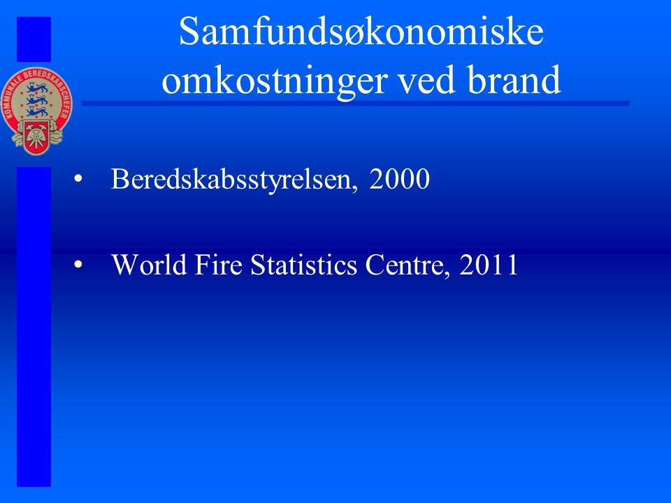 Samfundsøkonomiske omkostninger ved brand Beredskabsstyrelsen, 2000 World Fire Statistics Centre, 2011