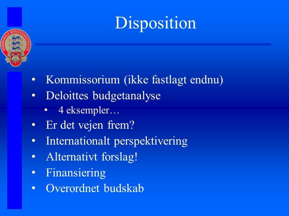 Disposition Kommissorium (ikke fastlagt endnu) Deloittes budgetanalyse 4 eksempler… Er det vejen frem.