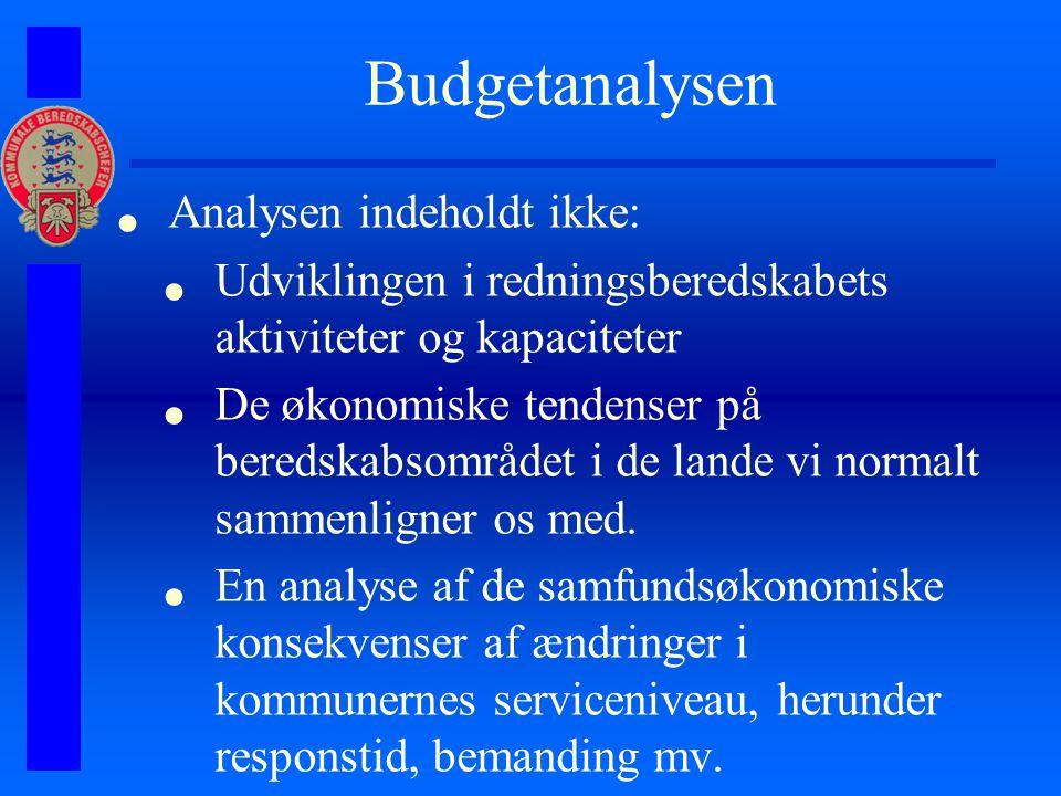 Budgetanalysen Analysen indeholdt ikke: Udviklingen i redningsberedskabets aktiviteter og kapaciteter De økonomiske tendenser på beredskabsområdet i de lande vi normalt sammenligner os med.