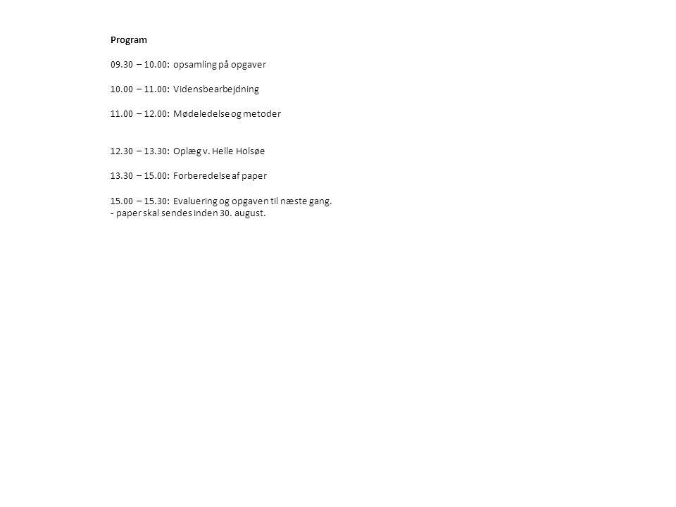 Program 09.30 – 10.00: opsamling på opgaver 10.00 – 11.00: Vidensbearbejdning 11.00 – 12.00: Mødeledelse og metoder 12.30 – 13.30: Oplæg v.