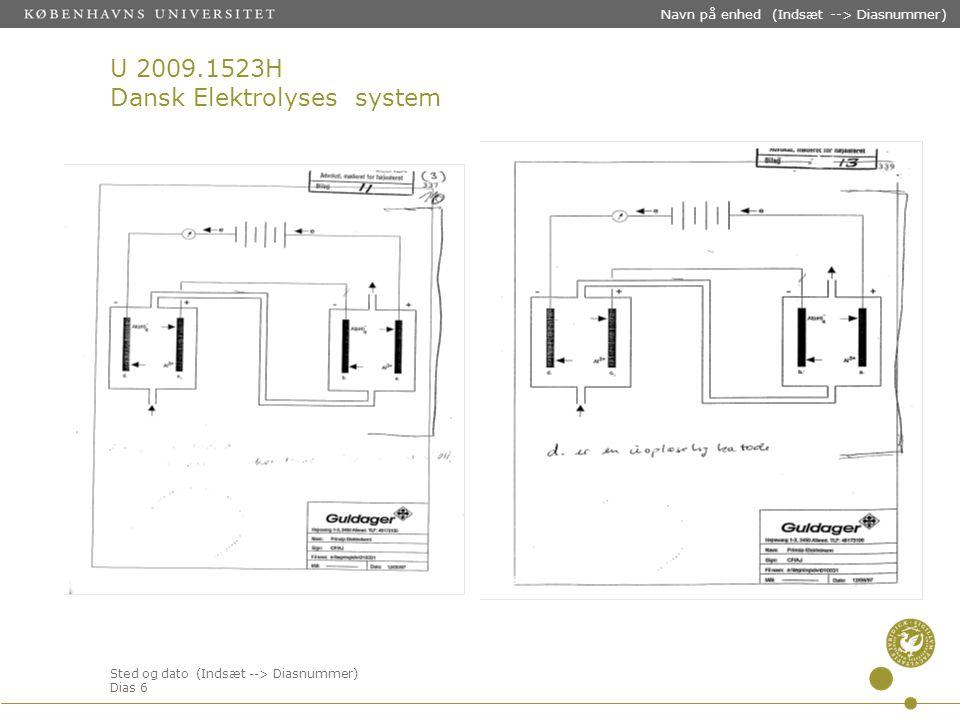 Sted og dato (Indsæt --> Diasnummer) Dias 6 Navn på enhed (Indsæt --> Diasnummer) U 2009.1523H Dansk Elektrolyses system