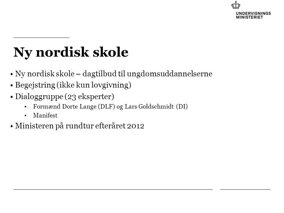 Tilføj hjælpelinier: 1.Højreklik et sted i det grå område rundt om dette dias 2.Vælg 'Gitter og Hjælpelinier...' 3.Tilvælg 'Vis hjælpelinier på skærm' Ny nordisk skole Ny nordisk skole – dagtilbud til ungdomsuddannelserne Begejstring (ikke kun lovgivning) Dialoggruppe (23 eksperter) Formænd Dorte Lange (DLF) og Lars Goldschmidt (DI) Manifest Ministeren på rundtur efteråret 2012