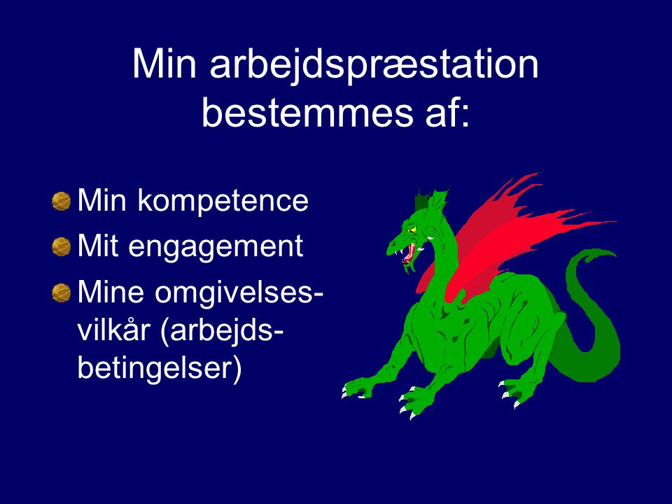 Min arbejdspræstation bestemmes af: Min kompetence Mit engagement Mine omgivelses- vilkår (arbejds- betingelser)