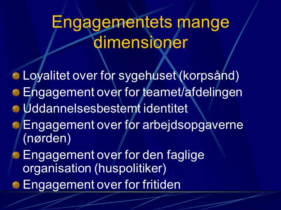 Engagementets mange dimensioner Loyalitet over for sygehuset (korpsånd) Engagement over for teamet/afdelingen Uddannelsesbestemt identitet Engagement over for arbejdsopgaverne (nørden) Engagement over for den faglige organisation (huspolitiker) Engagement over for fritiden