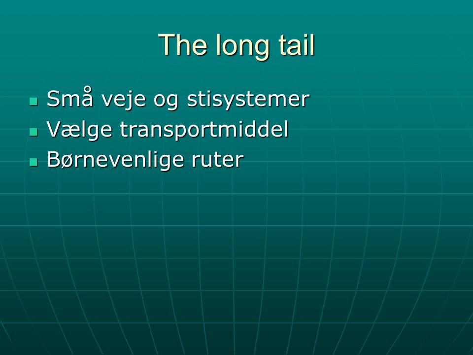 The long tail Små veje og stisystemer Små veje og stisystemer Vælge transportmiddel Vælge transportmiddel Børnevenlige ruter Børnevenlige ruter