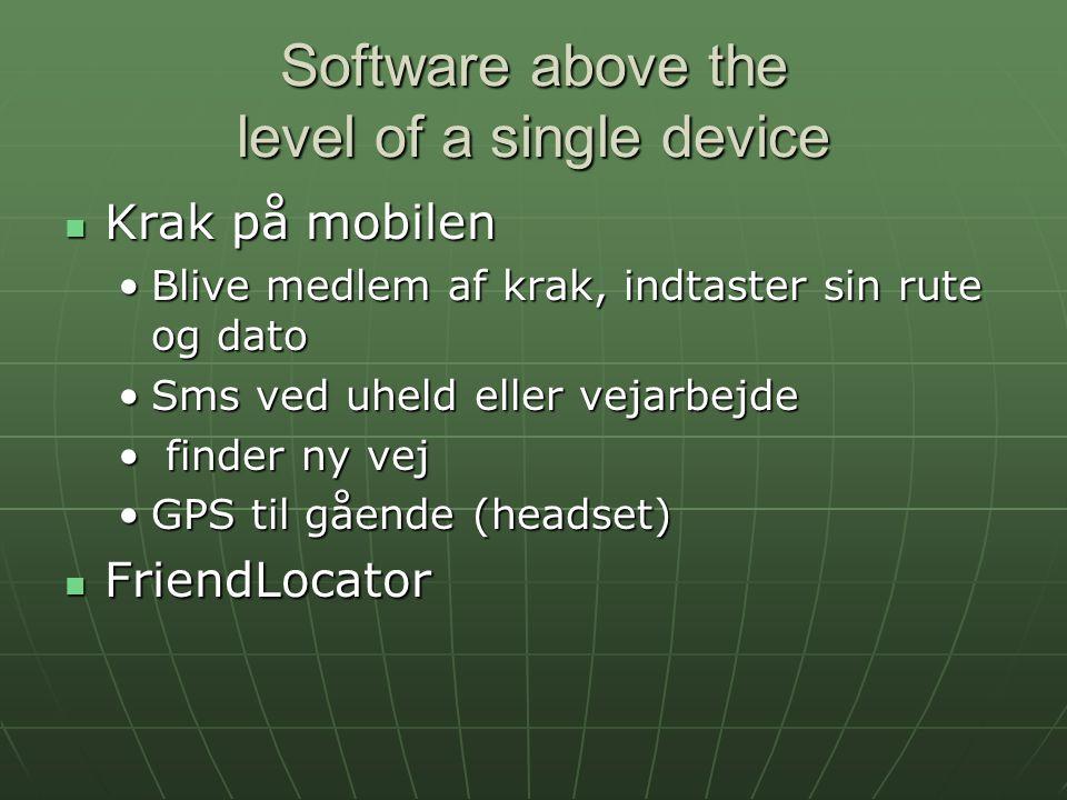 Software above the level of a single device Krak på mobilen Krak på mobilen Blive medlem af krak, indtaster sin rute og datoBlive medlem af krak, indtaster sin rute og dato Sms ved uheld eller vejarbejdeSms ved uheld eller vejarbejde finder ny vej finder ny vej GPS til gående (headset)GPS til gående (headset) FriendLocator FriendLocator